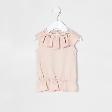 Mini girls pink frill top
