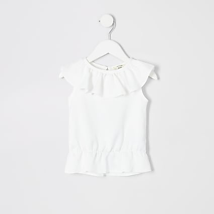 Mini girls white frill top