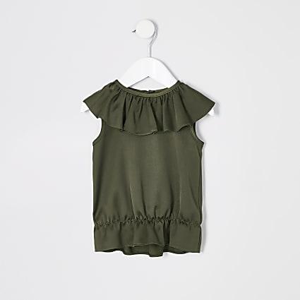 Mini girls khaki frill top