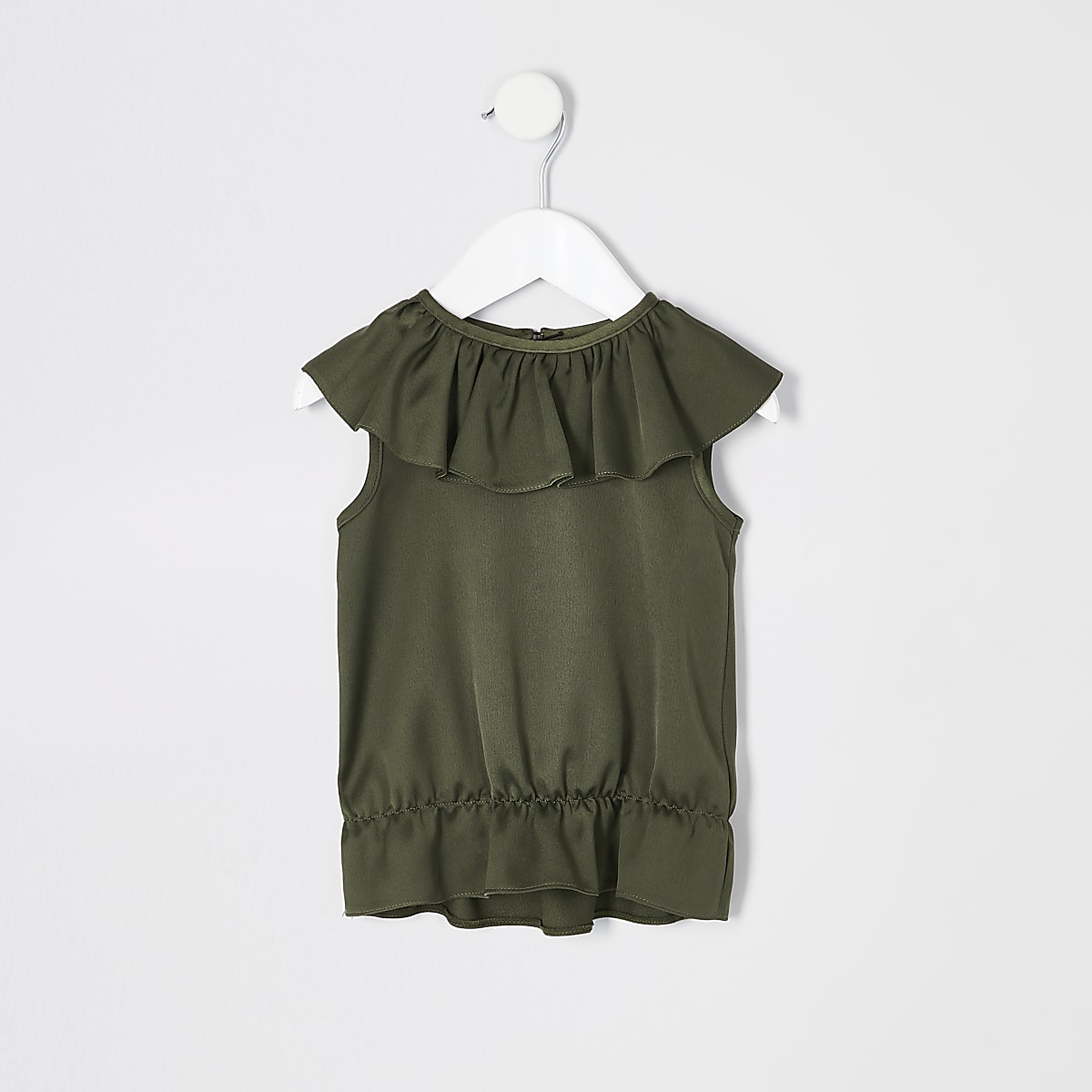 Mini girls khaki frill top