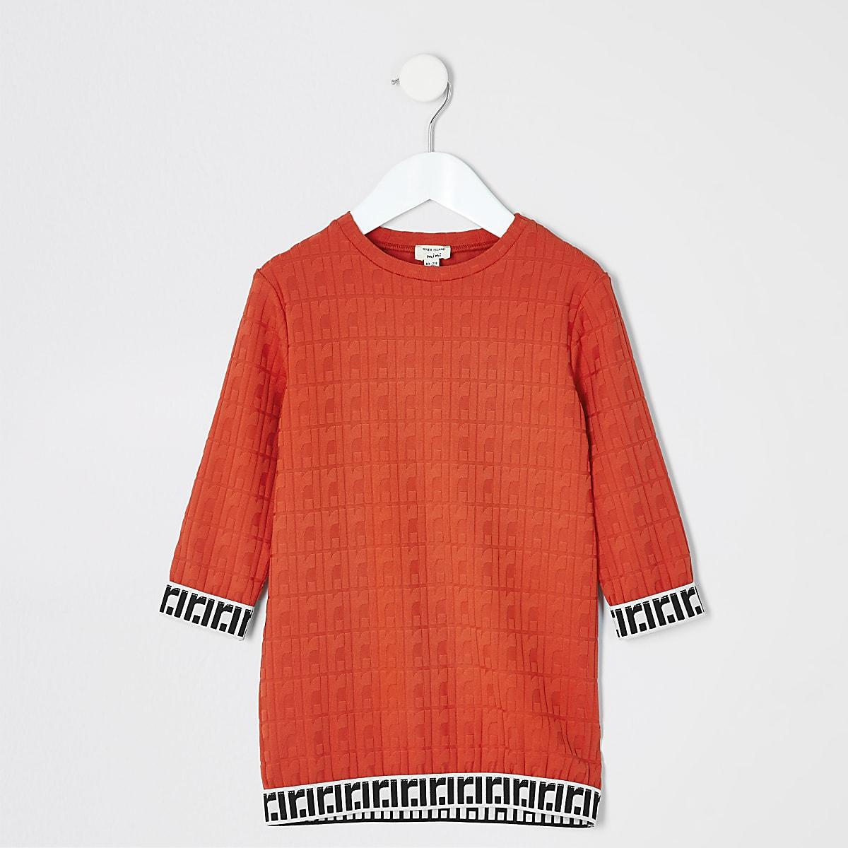 5f9bb41bac0ab7 Mini - Rode T-shirtjurk met RI-monogram voor meisjes - Jurken voor ...