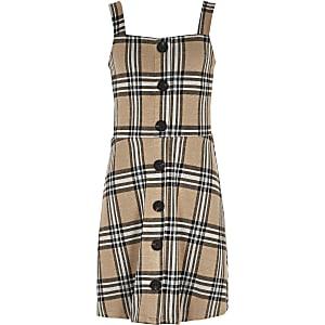 Girls beige check button pinafore dress