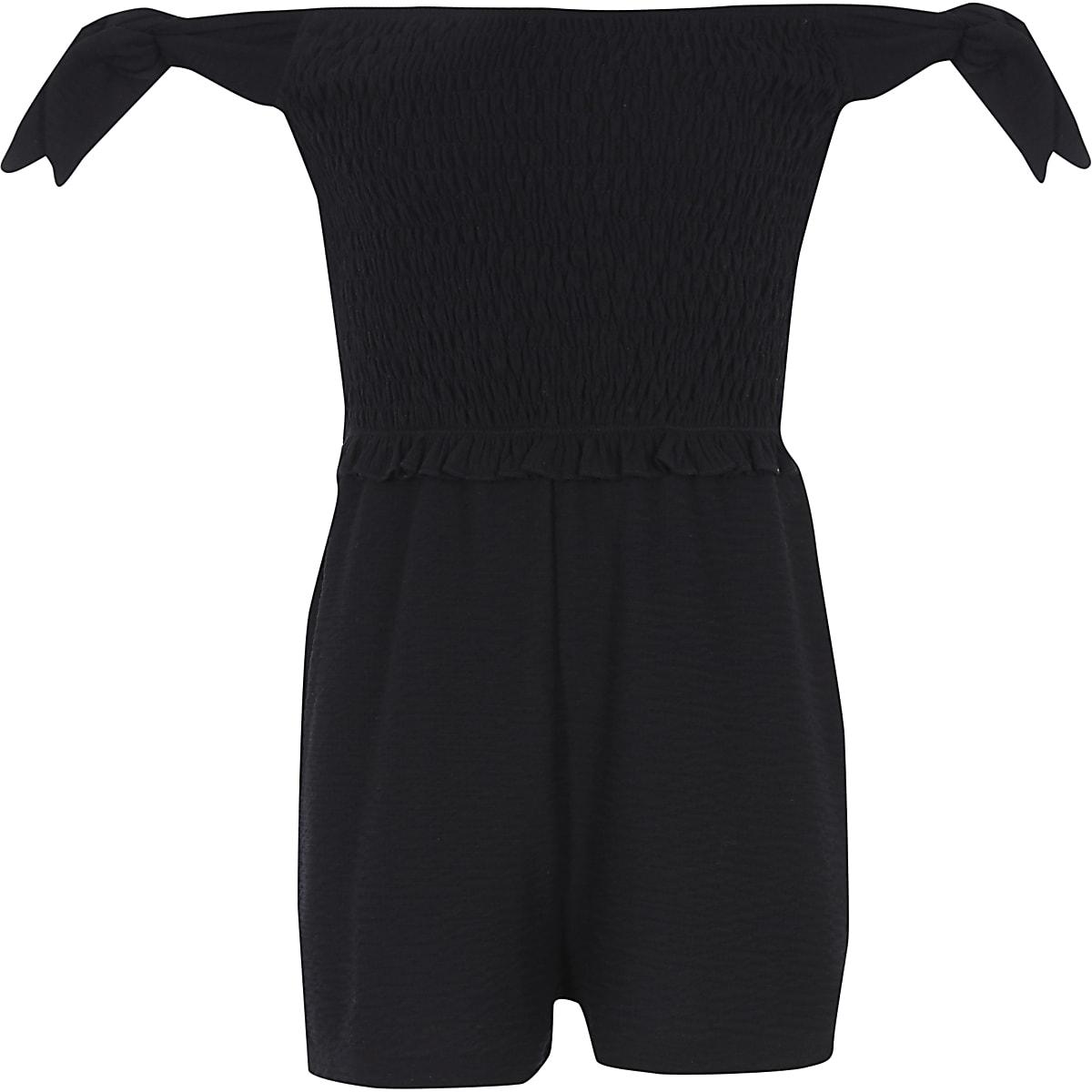 Girls black shirred bardot playsuit