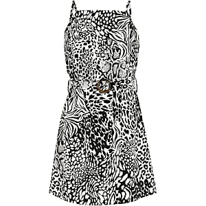 Girls black animal print slip dress