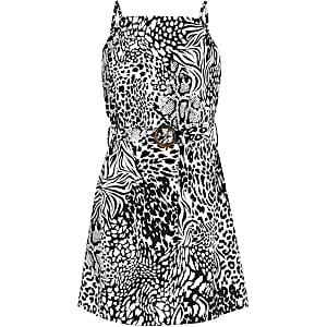 Schwarzes Kleid mit Animal-Print