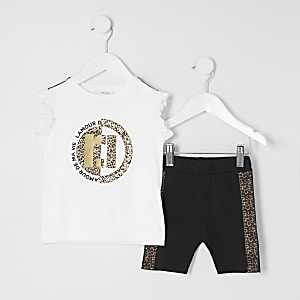 Mini girls white leopard cycle short outfit