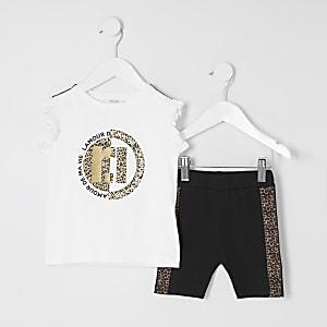 Mini - Outfit met witte fietsshort met luipaardprint voor meisjes