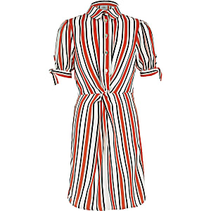 Girls orange stripe shirt dress