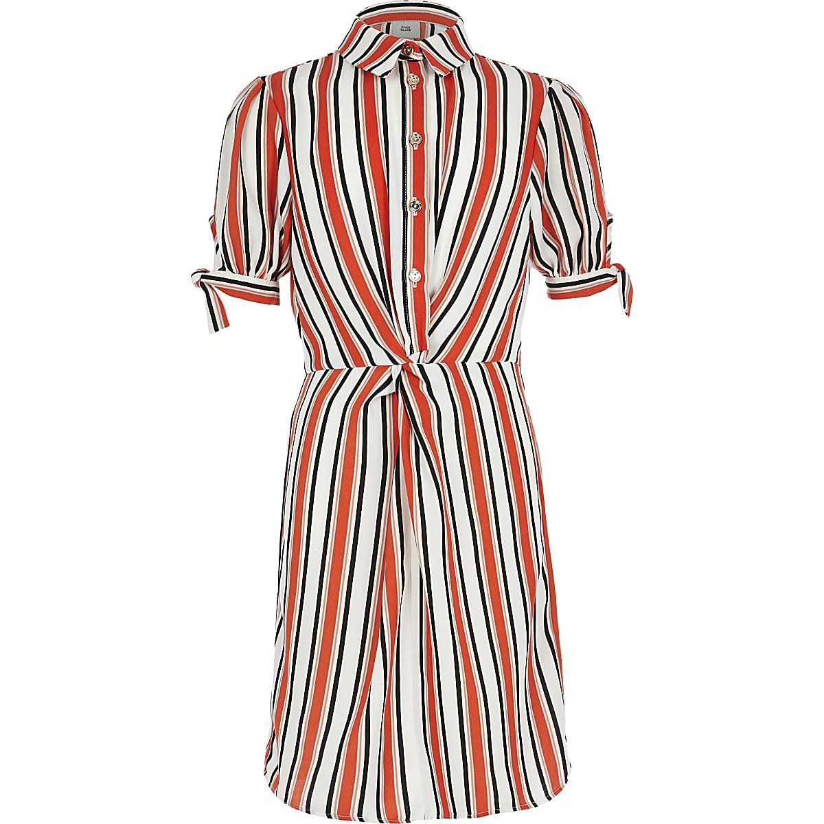 Girls orange stripe shirt dress