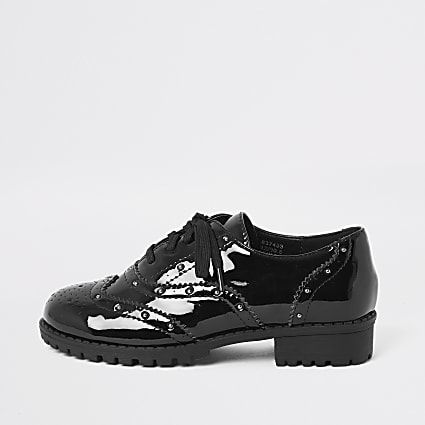 Girls black patent studded brogues