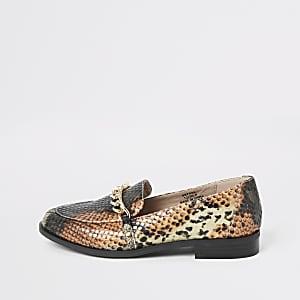 Braune Loafer in Schlangenlederoptik