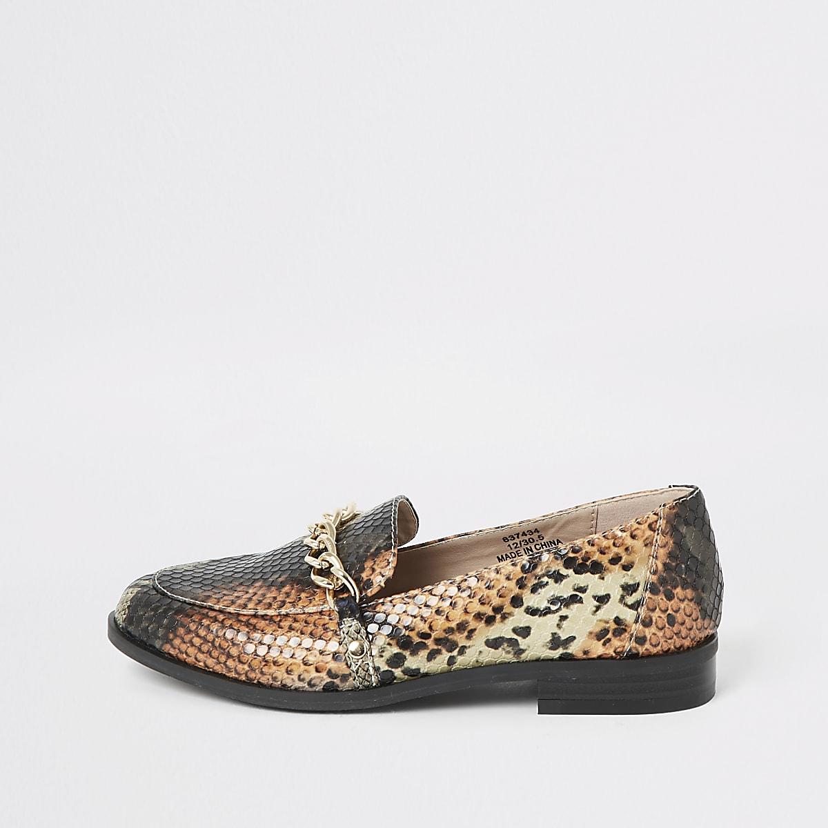 Bruine loafers met slangenprint voor meisjes