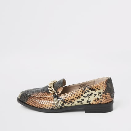 Girls brown snake print loafers