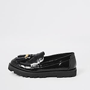 Girls black tassel front clumpy loafers