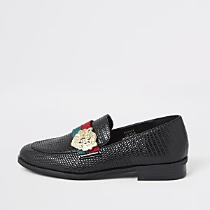 Girls black lion head tape loafers