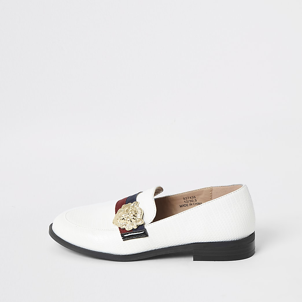 Girls white tape loafers