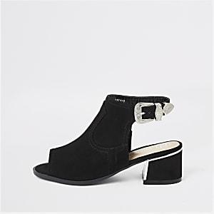 Zwarte schoenlaarsjes met gesp voor meisjes