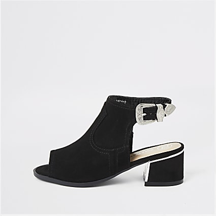 Girls black black buckle shoe boot