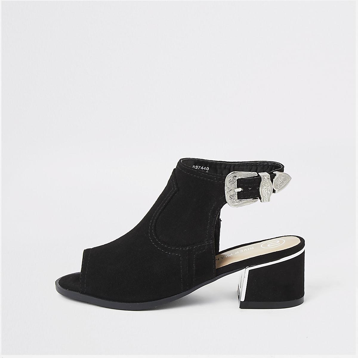 Girls black black buckle shoe boot