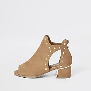 Girls brown studded cutout shoe boot