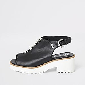 Girls black zip clumpy sandals