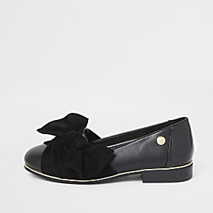 Girls black bow ballerina pumps
