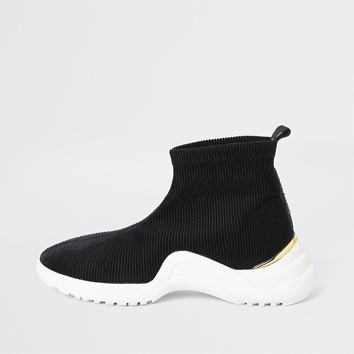 Girls black corduroy sock runner trainers