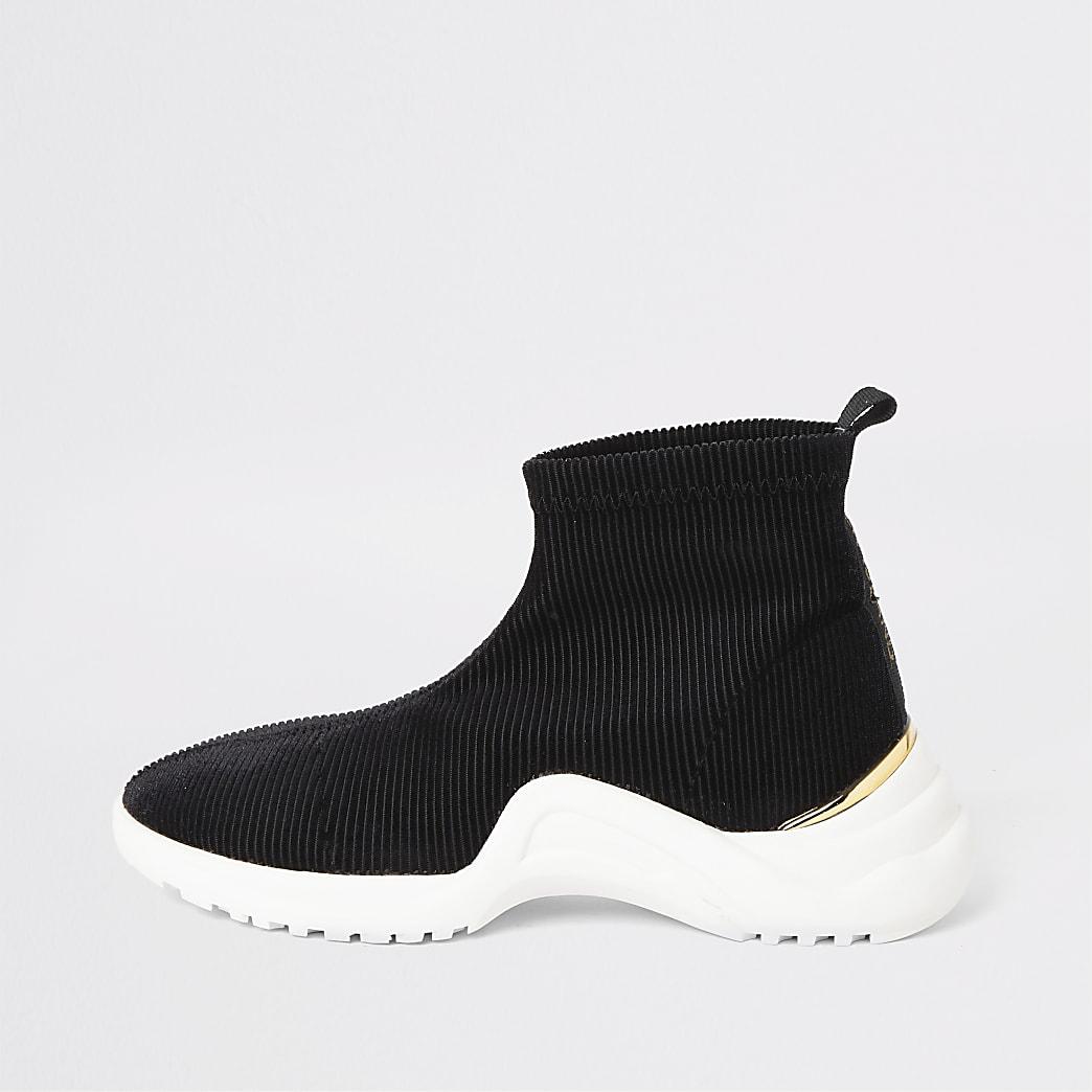 Zwarte sokvormige sneakers van corduroy voor meisjes