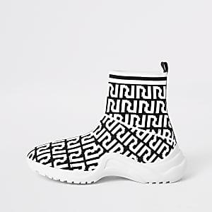 Girl black RI monogram sock trainers