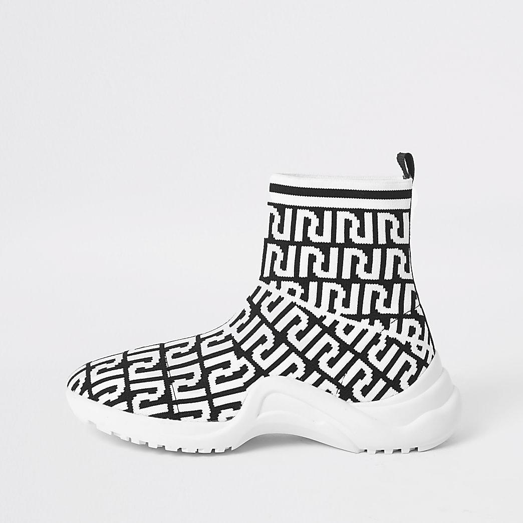 Girls black RI monogram sock trainers