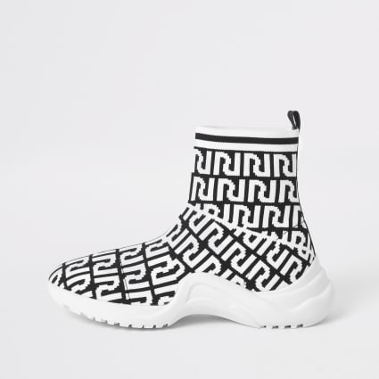 Girl black RI monogram sock trainers