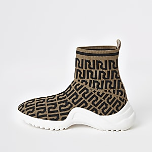 Girls RI monogram sock sneakers