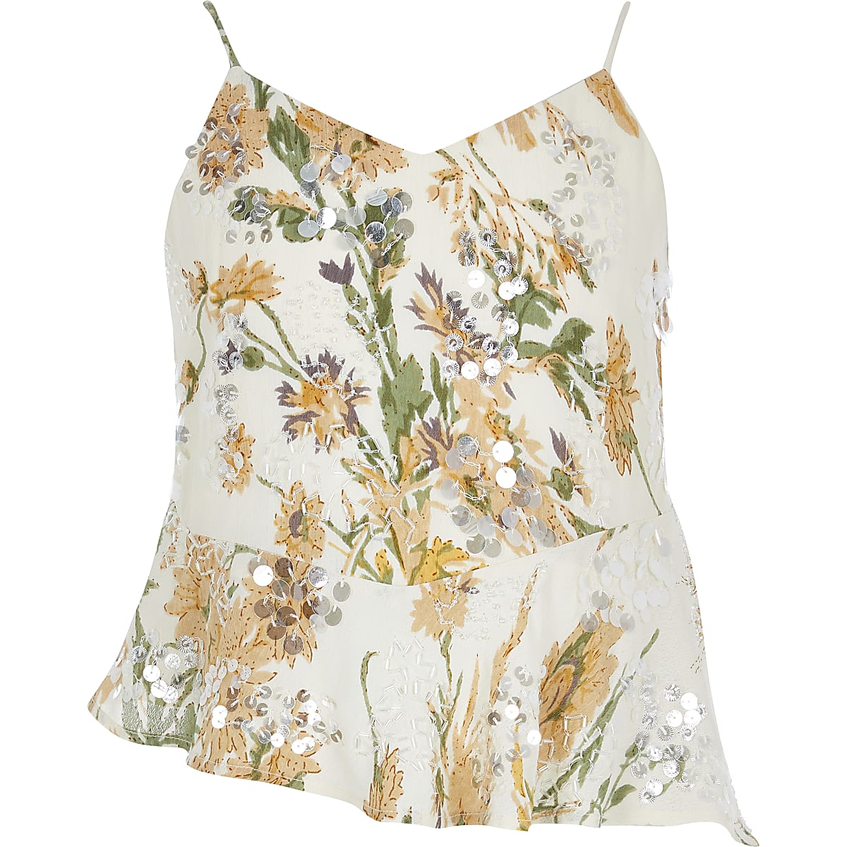 Gele camitop met bloemenprint en pailletten voor meisjes