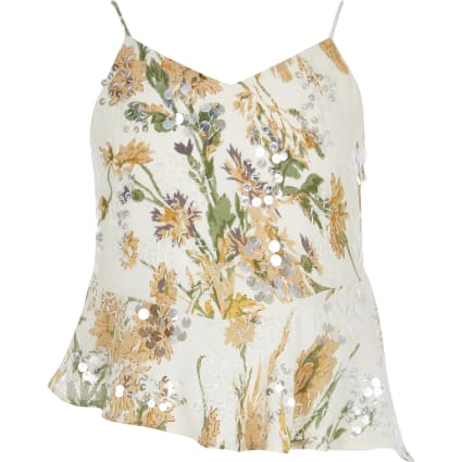 Girls yellow floral sequin cami top
