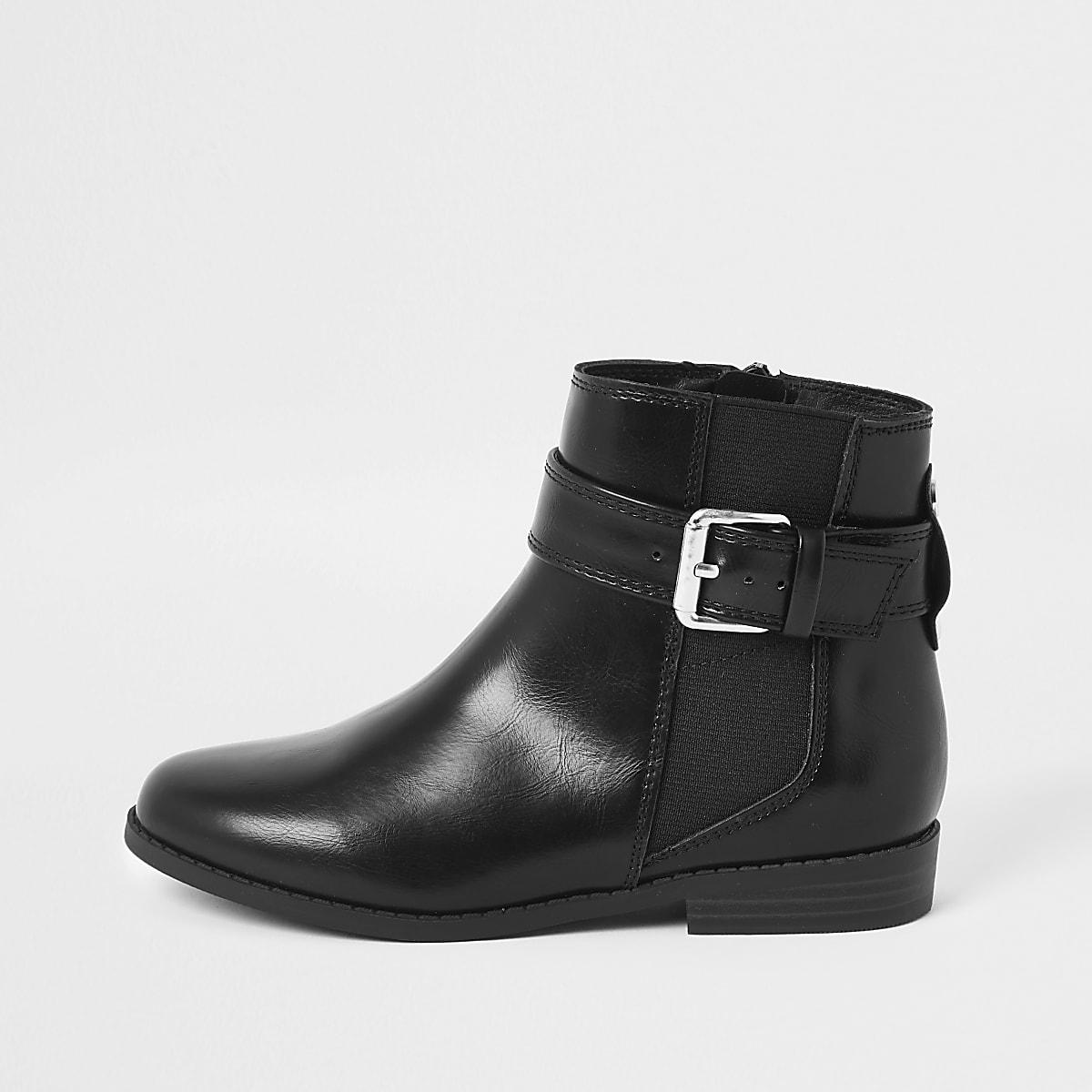 Girls black buckle boots