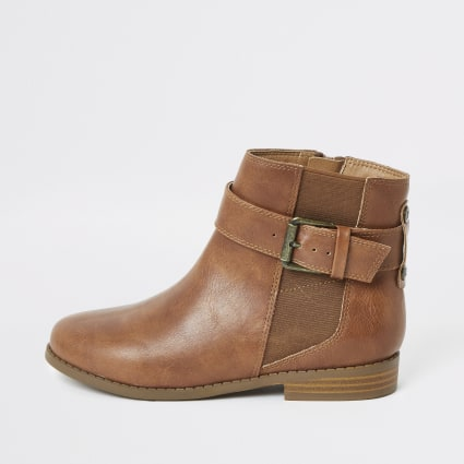 Girls brown buckle ankle boots