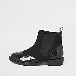 Girls black patent brogue boots