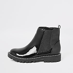 Mini girls black patent boots