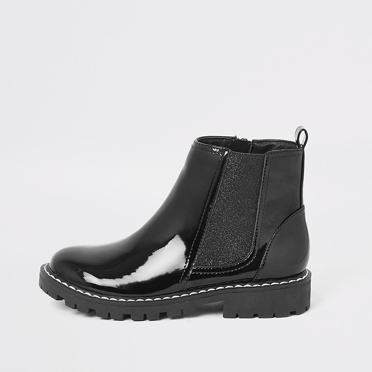 Girls black patent boots