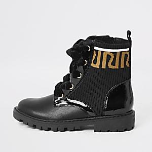 Girls black RI print ankle boots