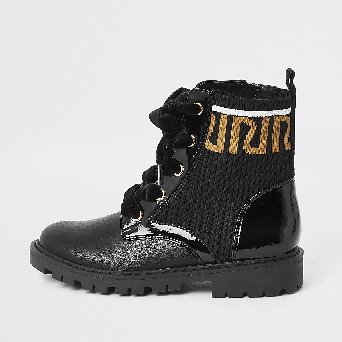 Girls black RI print ankle boots