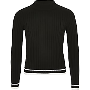 Girls black ribbed high neck top