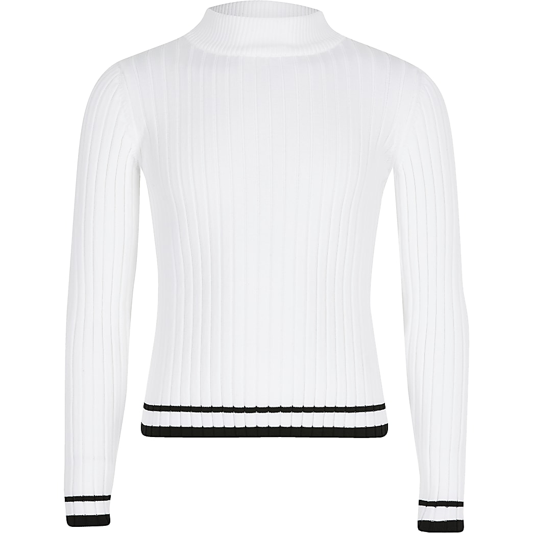 Girls white ribbed high neck top