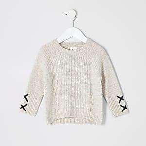 Mini - Crème pullover met kruisjes detail op de mouwen voor meisjes