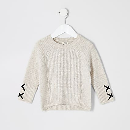Mini girls cream cross sleeve jumper