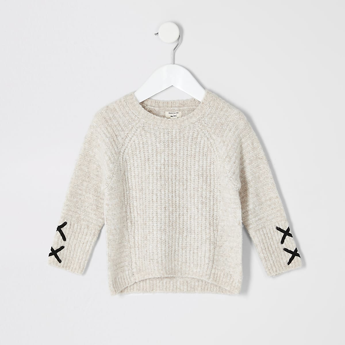 Mini girls cream cross sleeve jumper