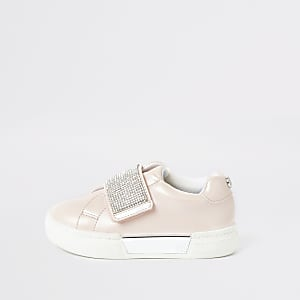 Mini girls pink diamante plimsolls