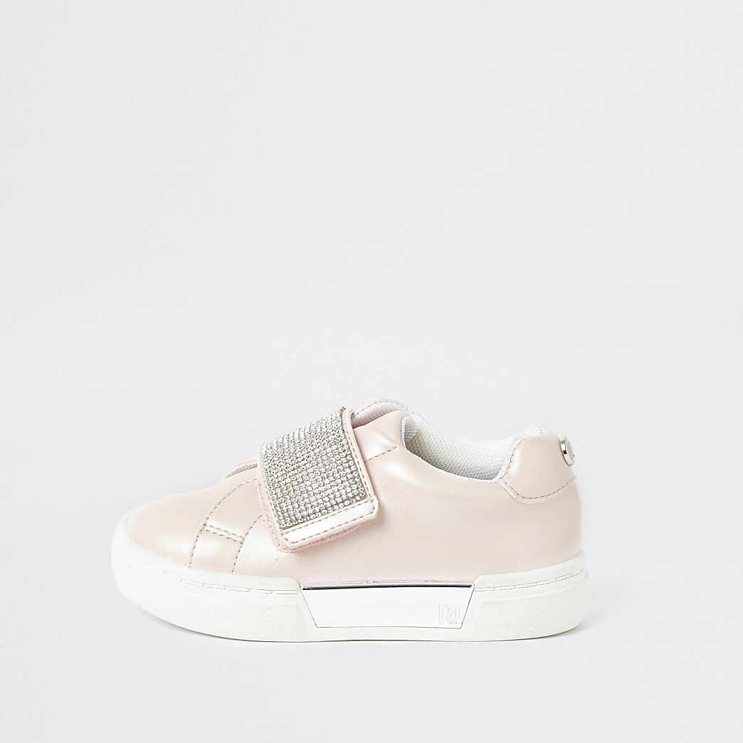 Mini girls pink diamante plimsolls