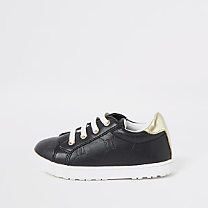 Mini girls black RI monogram lace-up plimsoll