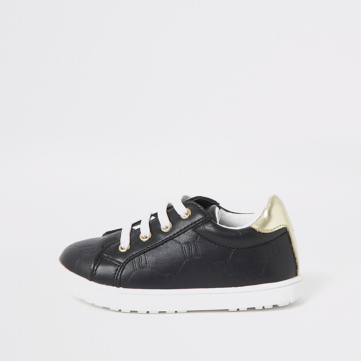 Mini - Zwarte sneakers met vetersluiting en RI-monogram voor meisjes